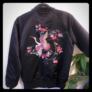 Forever 21 silk bomber w embroidery